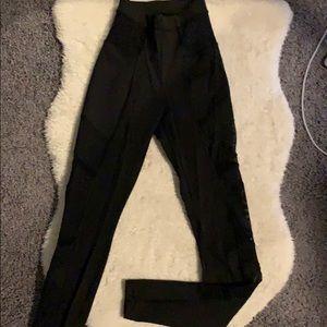 Lulu lemon black leggings with sheer detailed side